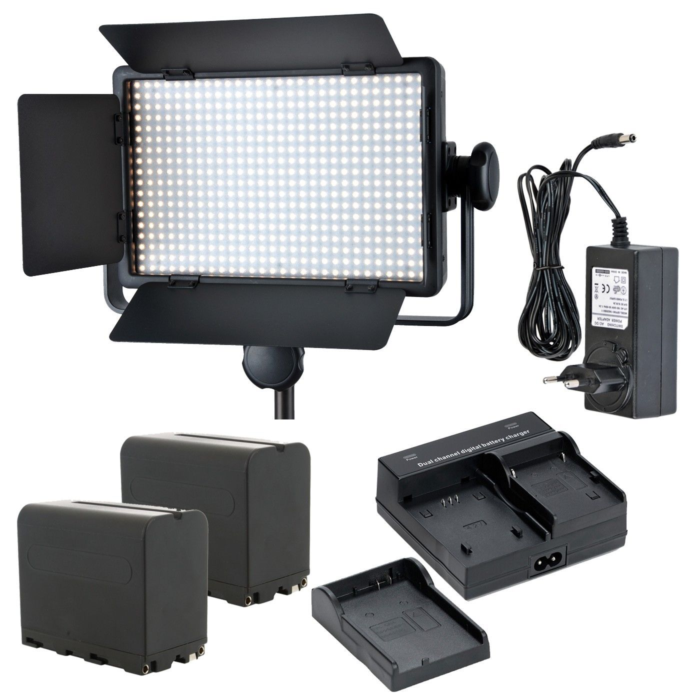 Godox LED500C ( Lux: 2900) 3300K-5600K LED Video Continuous Light Lamp Panel + Dual charger + Battery godox professional led video light led500c changeable version 3300k 5600k battery dual charger 2m light stand