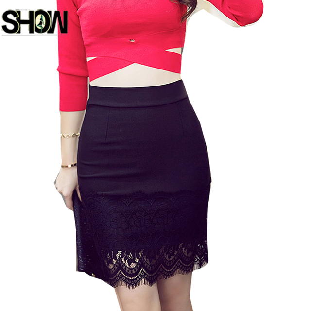 6c2fabd6b8 Slim Fit Pencil Skirts New Hot Selling Korean Style Women Fashion Work  Office Ladies Elegant Sexy Black Lace High Waist Skirt