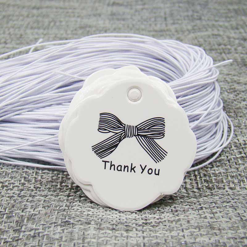 US $3.4 50% OFF|New3cm white paper gift hang tag thank you with ribbon tag 200pcs +200pcs white elastic string for candy/wedding/cookie products|Garment Tags| |  - AliExpress