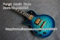 중국어 골드 하드웨어 왼쪽 lp 사용자 정의 전기 guitars 블루 바인딩 누비 마침 기타 바디