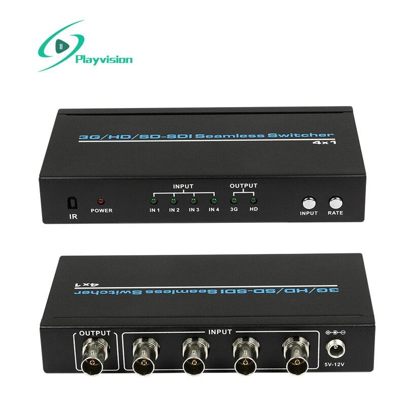 Ультра Высокое разрешение 3G/HD/SD SDI бесшовный коммутатор 4x1 4 в 1, поддерживает 300m для SD, 200m для HD и 100m для 3G сигналов