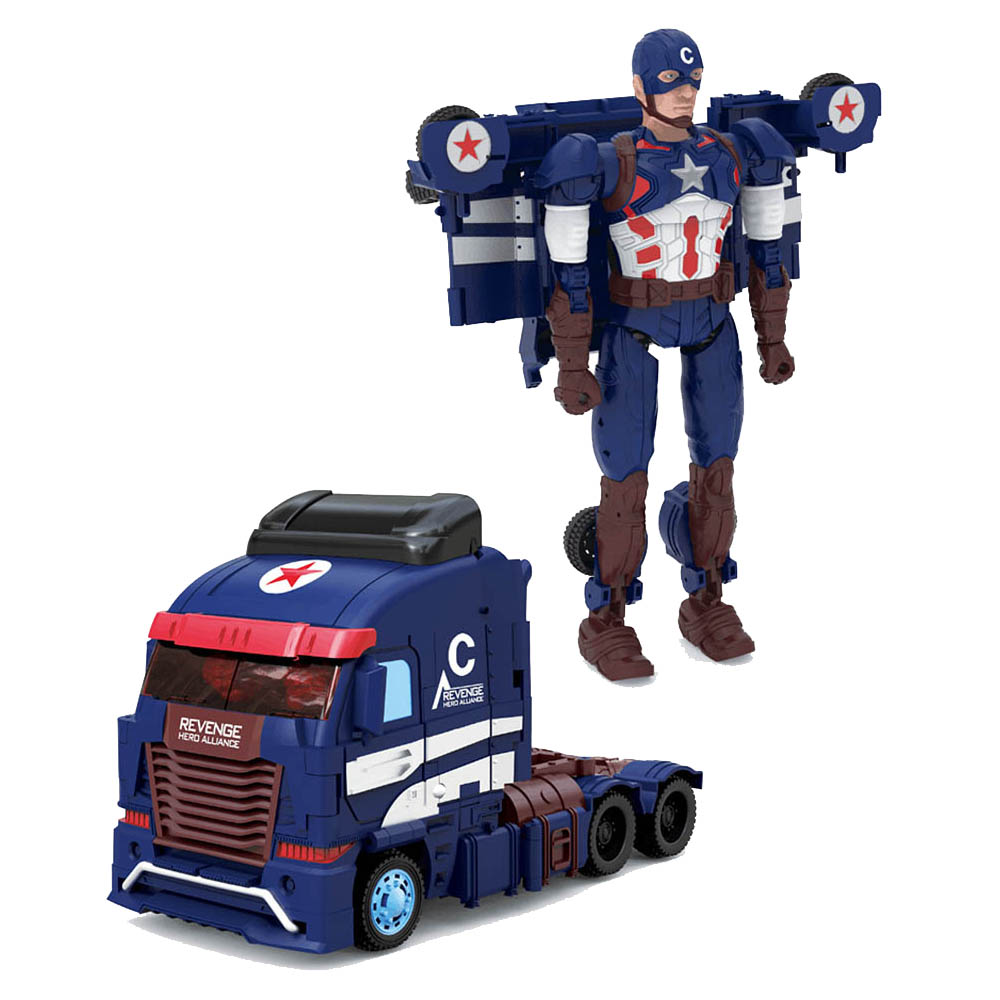 Deformation Transformation Robots DIY Captain America Truck Model Toys For Kids wei jiang transformation robots deformation boy toys fire and war alloy rescue crane motor drivers truck combiners autobots