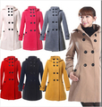 Spring new fashion women's Hooded Double Breasted Trench Wool Coat long Winter Jackets parka coats Outerwear good quality