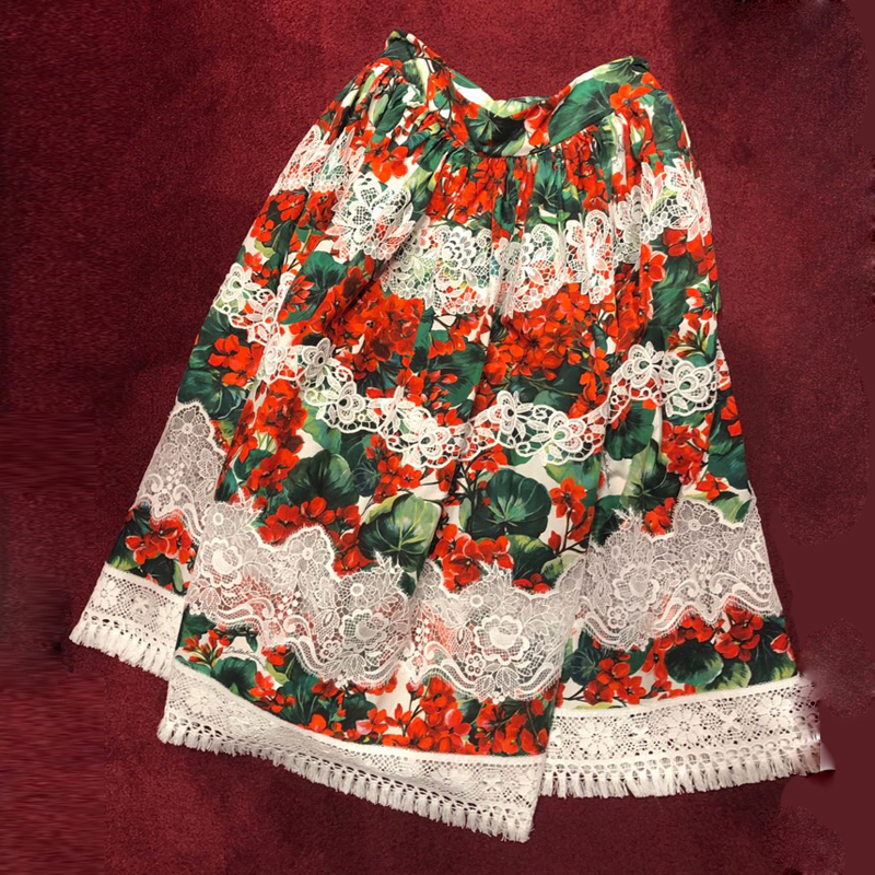 Red RoosaRosee Designer Runway Summer Women High end Flower Print Lace Skirt Elegant Boho Holiday Red Skirts Lady Party Clothes-in Skirts from Women's Clothing    1
