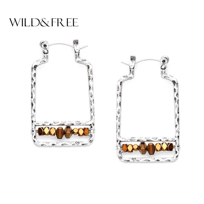 Women Fahion Gold Zinc Alloy Geometric Hoop Earrings With Natural Stone Bead Antique Silver Hollow Out Dangle Earrings Jewelry