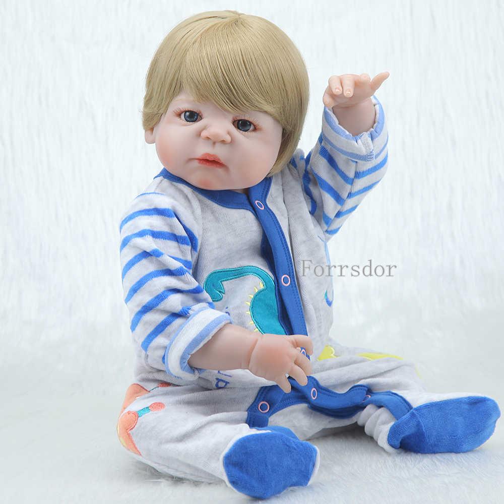 """Полностью силиконовые куклы reborn для продажи 22 """"55 см блонд парик из настоящих волос мужские куклы для новорожденных"""