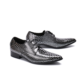 Snake pattern lace-up oxford fashion falt Genuine leather pointed toe dress shoes for men party wedding shoes size 38-46