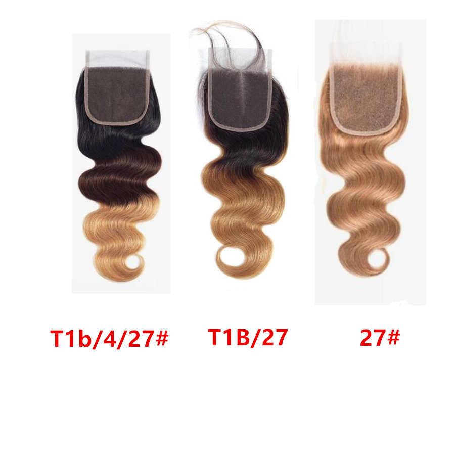 Кружева закрытия RXY бразильские волосы продажа тела волна Реми человеческие волосы закрытие # 1B/#2/#4/#27/99J закрытия предварительно сорвал Омбре закрытия волос