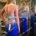 Azul real Vestidos de Baile 2016 Nueva Moda Scoop Vaina Robe de Soirée Gasa Larga de Color Rosa Con Cuentas de Cristal Rhinestone Vestido de Noche