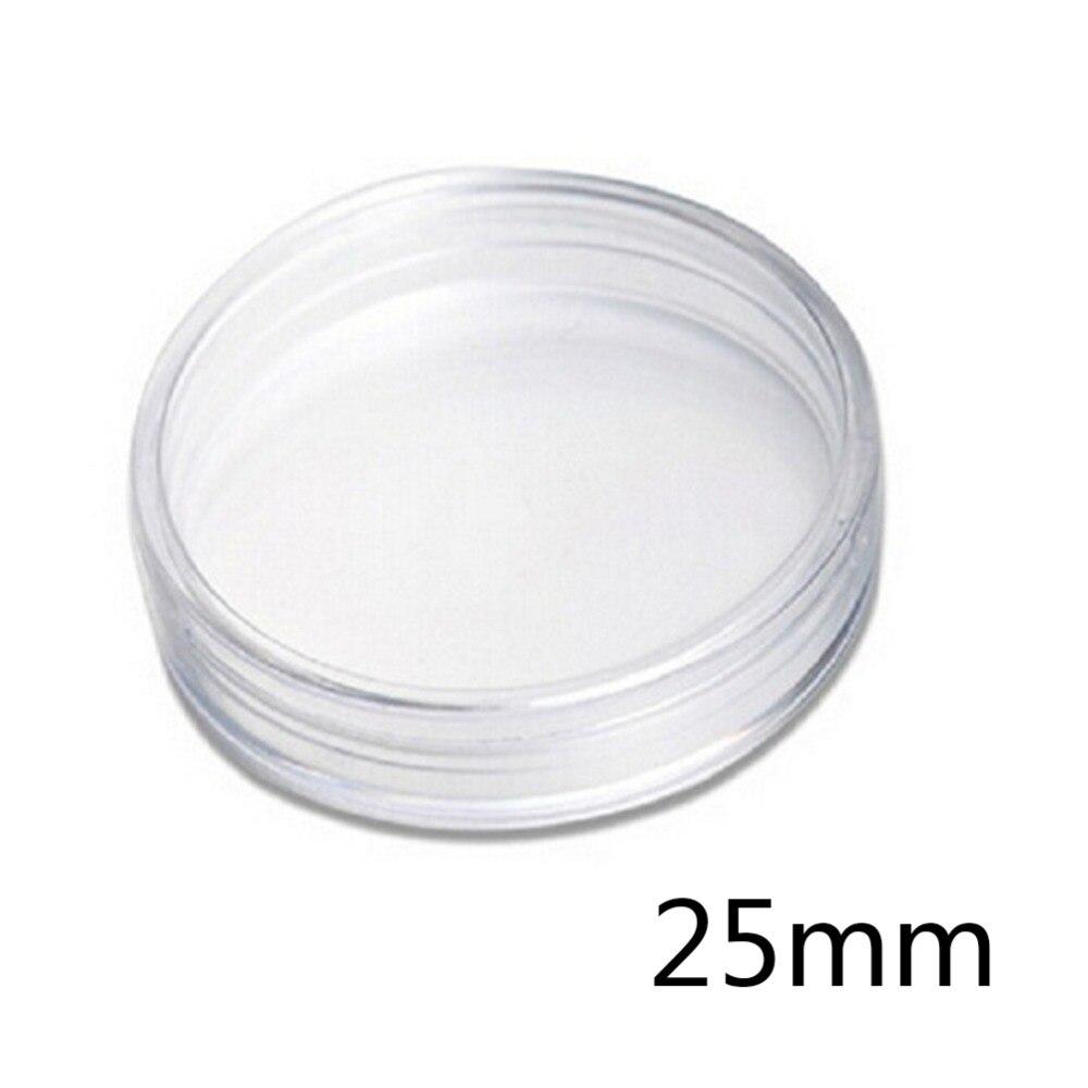 10Pcs/Box Small Round Transparent Plastic Coin Capsules Case 25mm