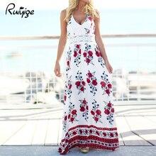 Boho Sexy Floral Print Vintage Maxi Women Cami Dress Backless V Neck Long Summer Dresses Hollow up Waist Design Beach Vestidos