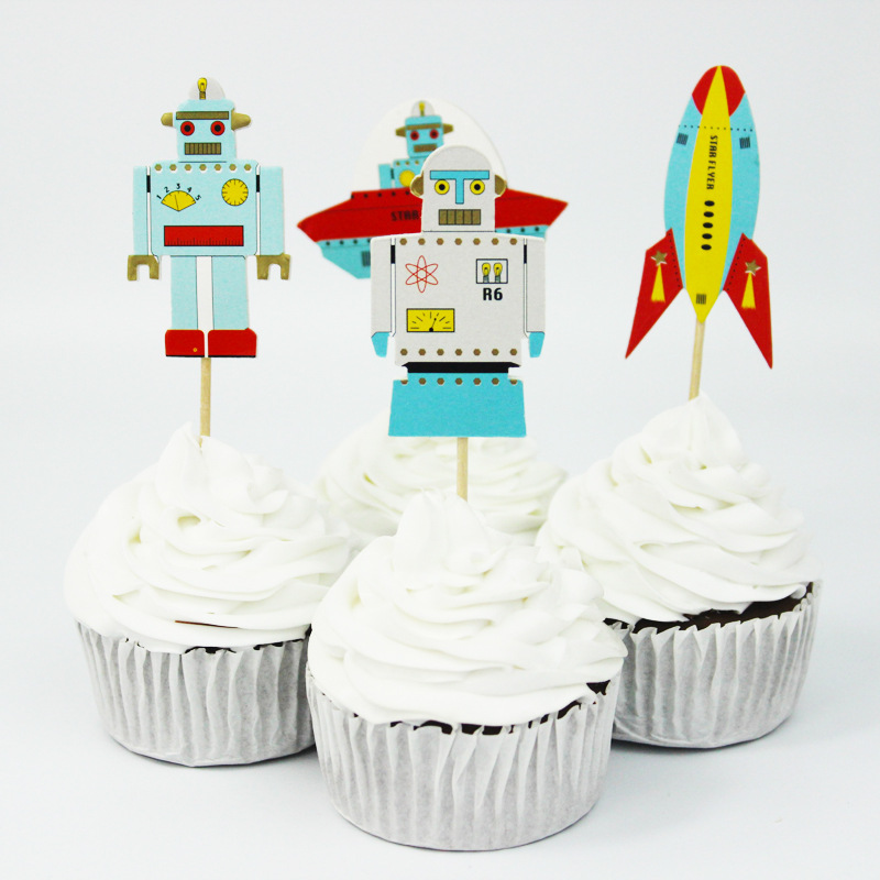 aliexpress  buy pcs robot rocket vessel cupcake toppers, Baby shower invitation