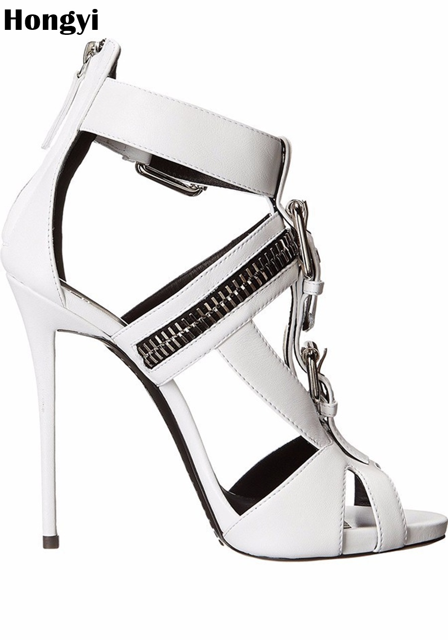 Hongyi Hot sell women high heel sandals White Black Zipper Designer gladiator sandal shoes party dress shoe woman high heels hot sell women high heel sandals gold gladiator sandal shoes party dress shoe woman patent leather high heels 5186 11a