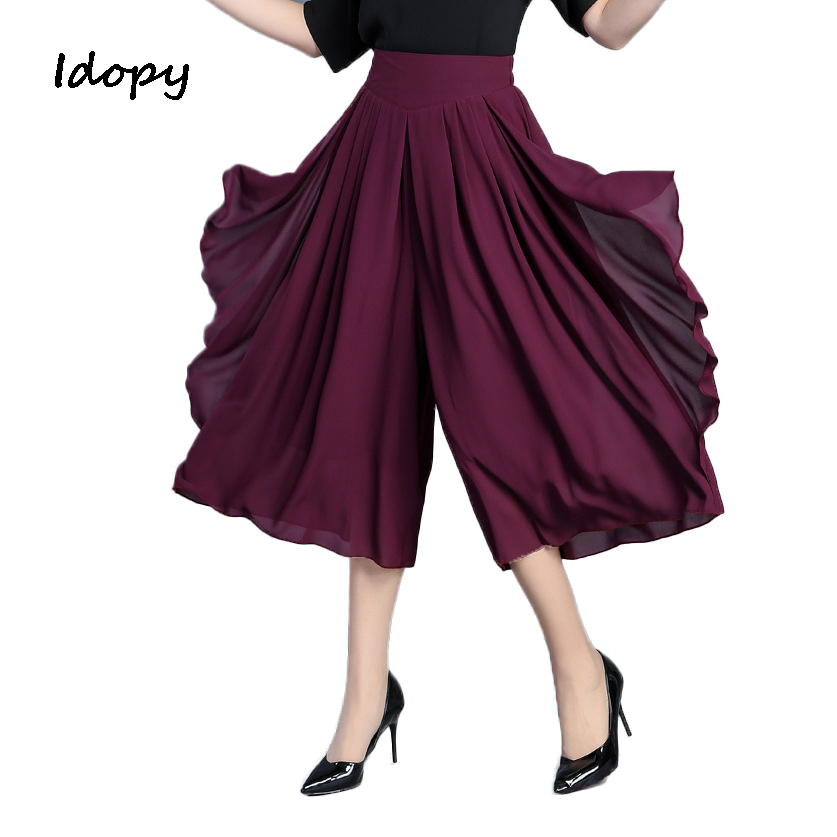 Idopy Summer Fashion Womens Classic Skirts   Pants   Loose Fit Female Chiffon   Wide     Leg     Pants   Plus Size Girls Leggings Sweatpants