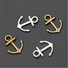 WKOUD 20pcs 15x19mm Antique Sliver/Bronze Metal Alloy Anchor nautical Jewelry Charms Fit Making Pendants A424
