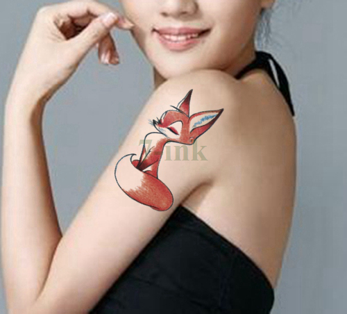 Waterproof Temporary Tattoos sticker Red Sexy cute Fox color fish bird cat Water Transfer fake flash tattoo for Adults kids 10