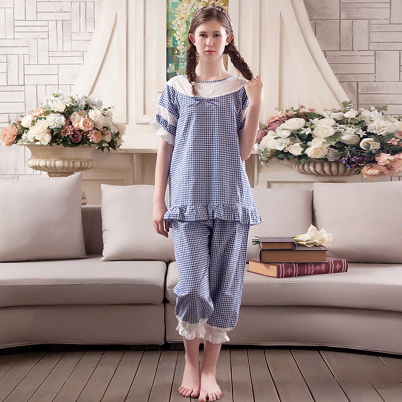 2017 Cotton Women Pajamas Ladies Sweat Lace Breathable Sleepwear Robes Korean Cute Casual Princess Long Loose Nightgowns Sets