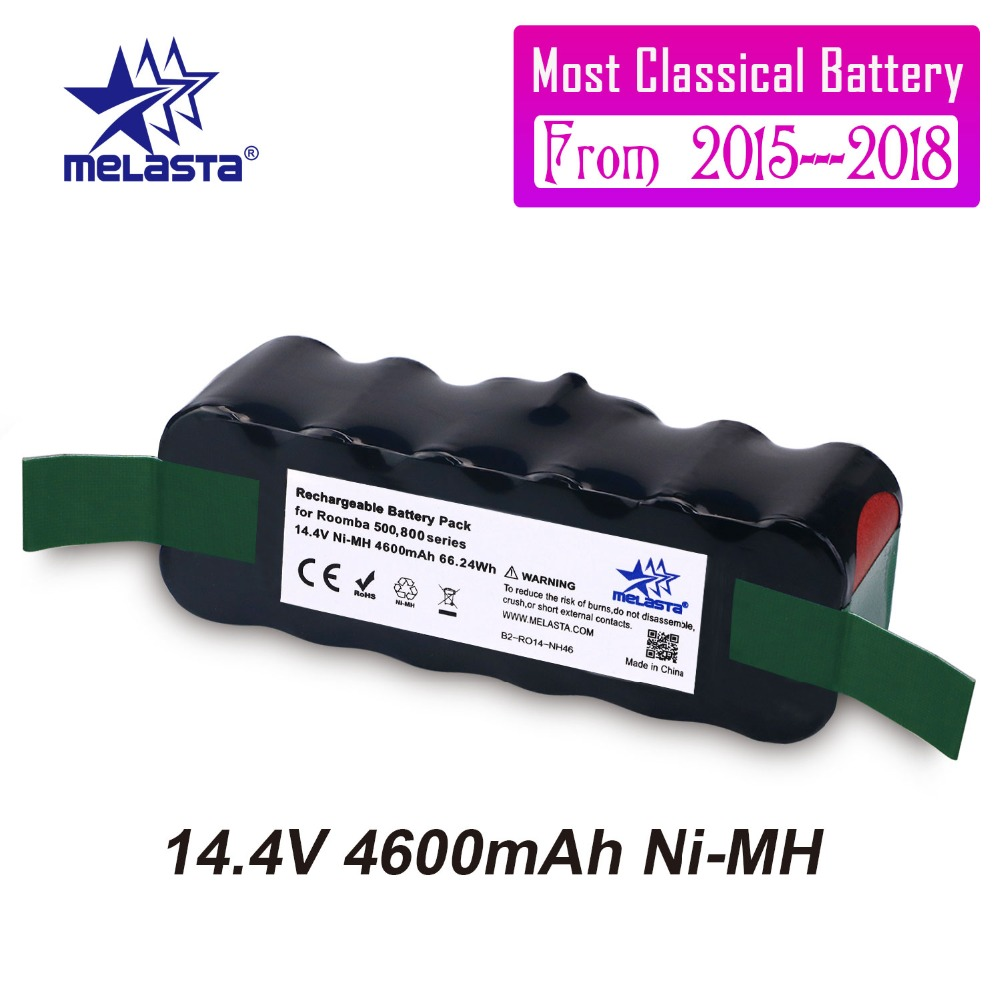 Melasta clásica 4.6Ah 14,4 V NIMH batería para iRobot Roomba 500, 600, 700, 800 Series 510, 530, 550, 560, 570 610, 620, 650, 760, 770, 780