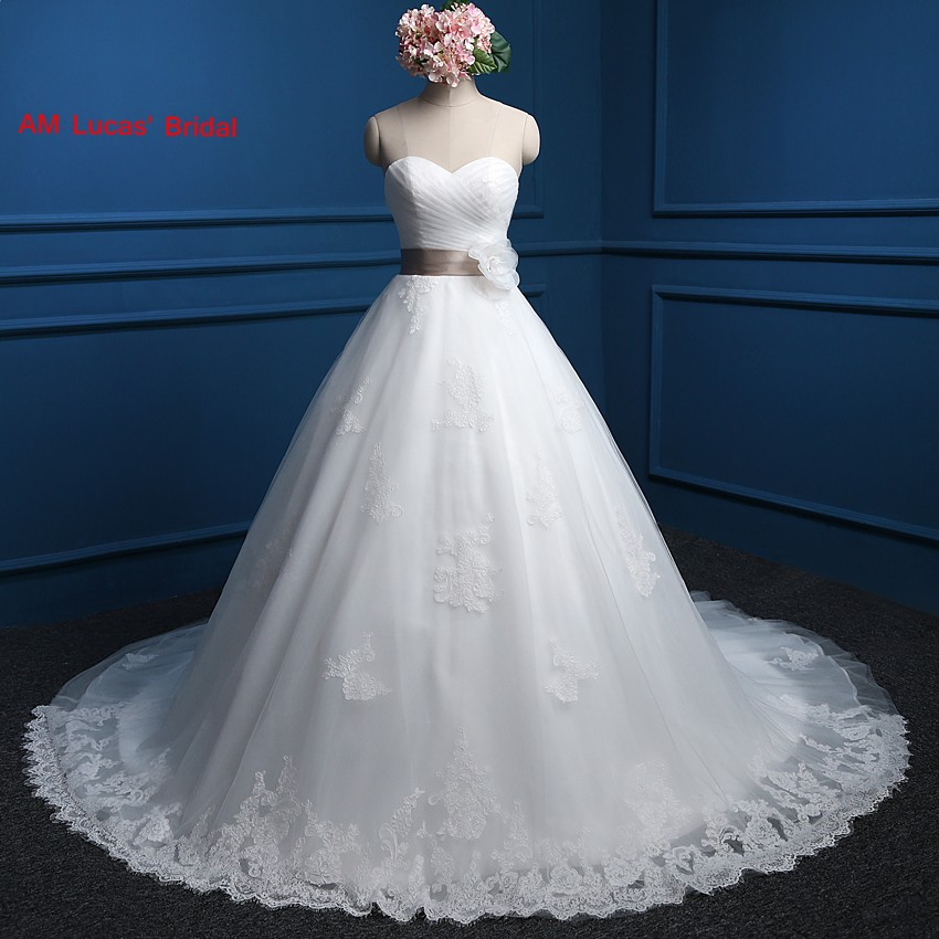 Wedding Gowns With Sashes: New Ball Gown Wedding Dresses Sashes With Flowers
