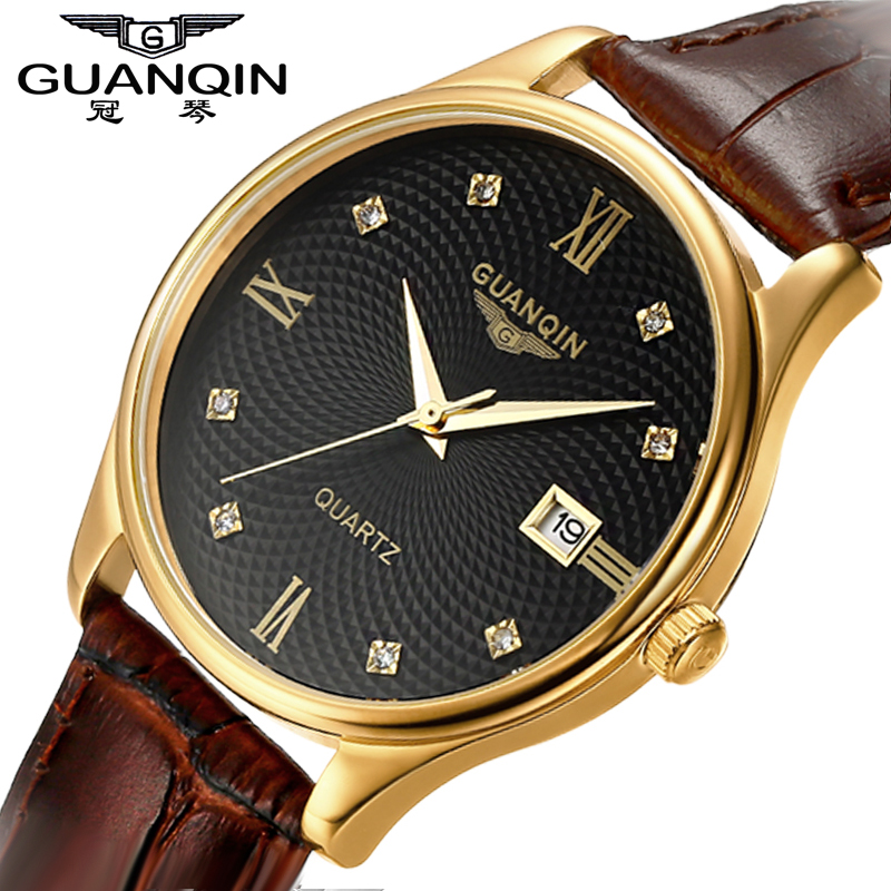 Sapphire Watch Men Original GUANQIN Watch Men Waterproof Quartz Watches  Leather Calendar Watches Clock Relogio Masculino seiko watch premier series sapphire chronograph quartz men s watch snde23p1