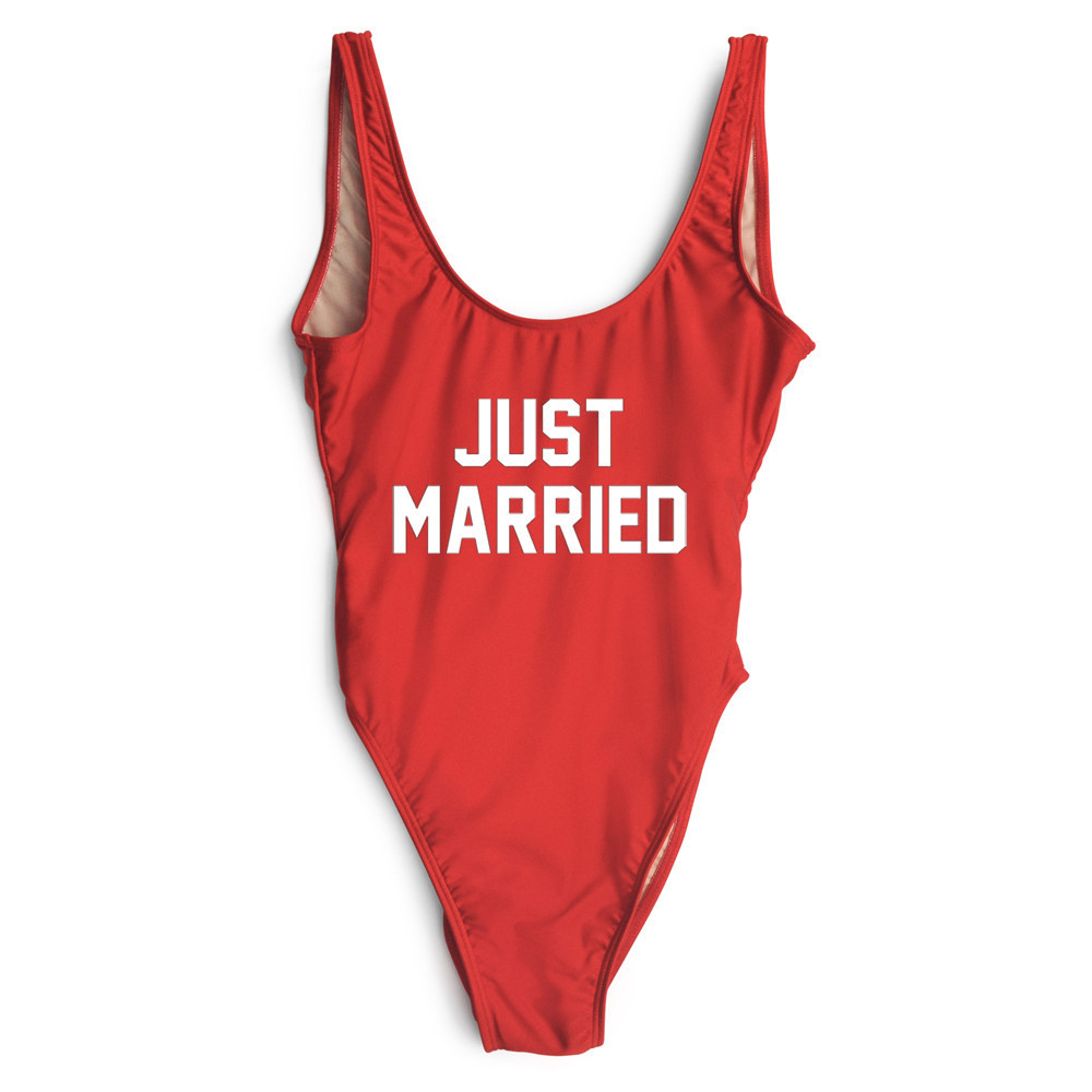 just married 2017 letter women one piece swimsuit sportwear swimwear california bodysuit. Black Bedroom Furniture Sets. Home Design Ideas
