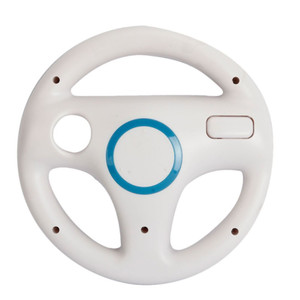 Hot White Plastic Steering Wheel For Racing Games Remote Controller Console For Wii