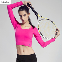 2017 Sexy Professionelle Gym Yoga t-shirt frauen Dry Schnell Laufende Sport Langarm Fitness Jogging Übungen Cropped Tees Tops
