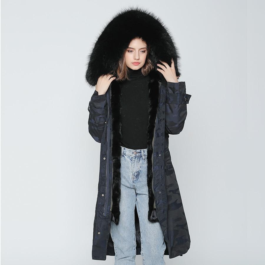 OFTBUY 2019 Real Fur Coat X-long Camouflage Parka Winter Jacket Women Big Natural Raccoon Fur Collar Hood Real Mink Fur Liner