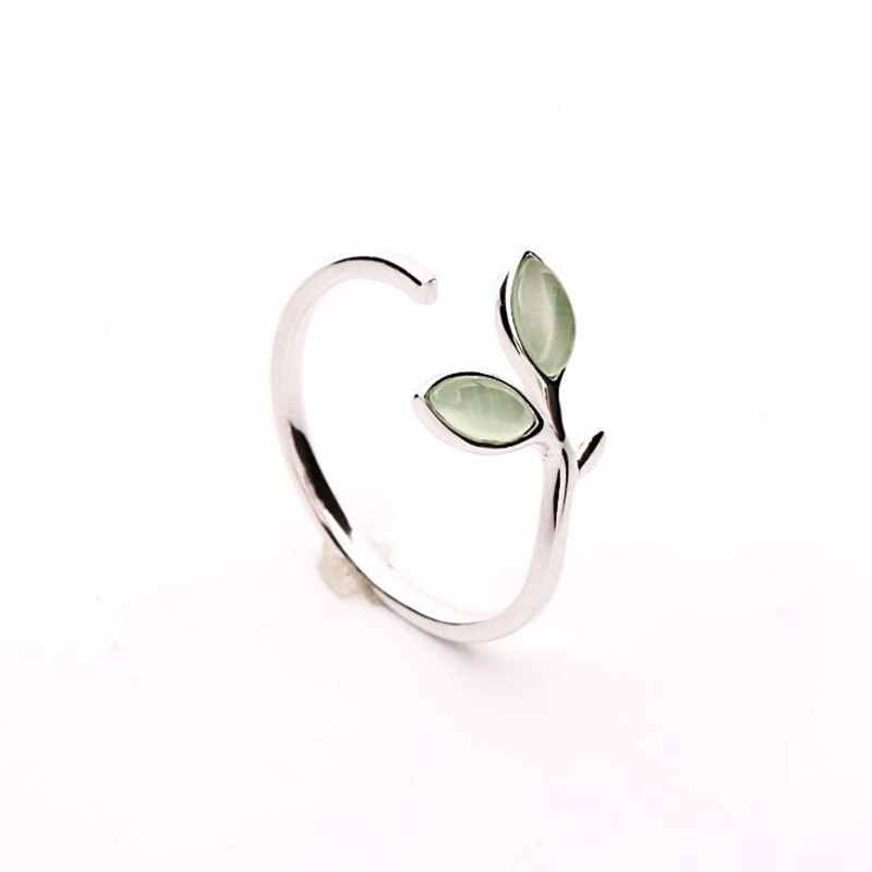 Ruifan Hot Sale Korean Green Opal Leaf Leaves 925 Sterling Silver Open Rings for Women Girls Ladys Fashion Jewelry Gift YRI135