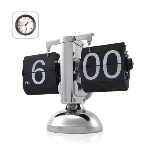 Black Retro Flip Down Clock-Internal Gear Operated Flip Home Clock USA Shipping
