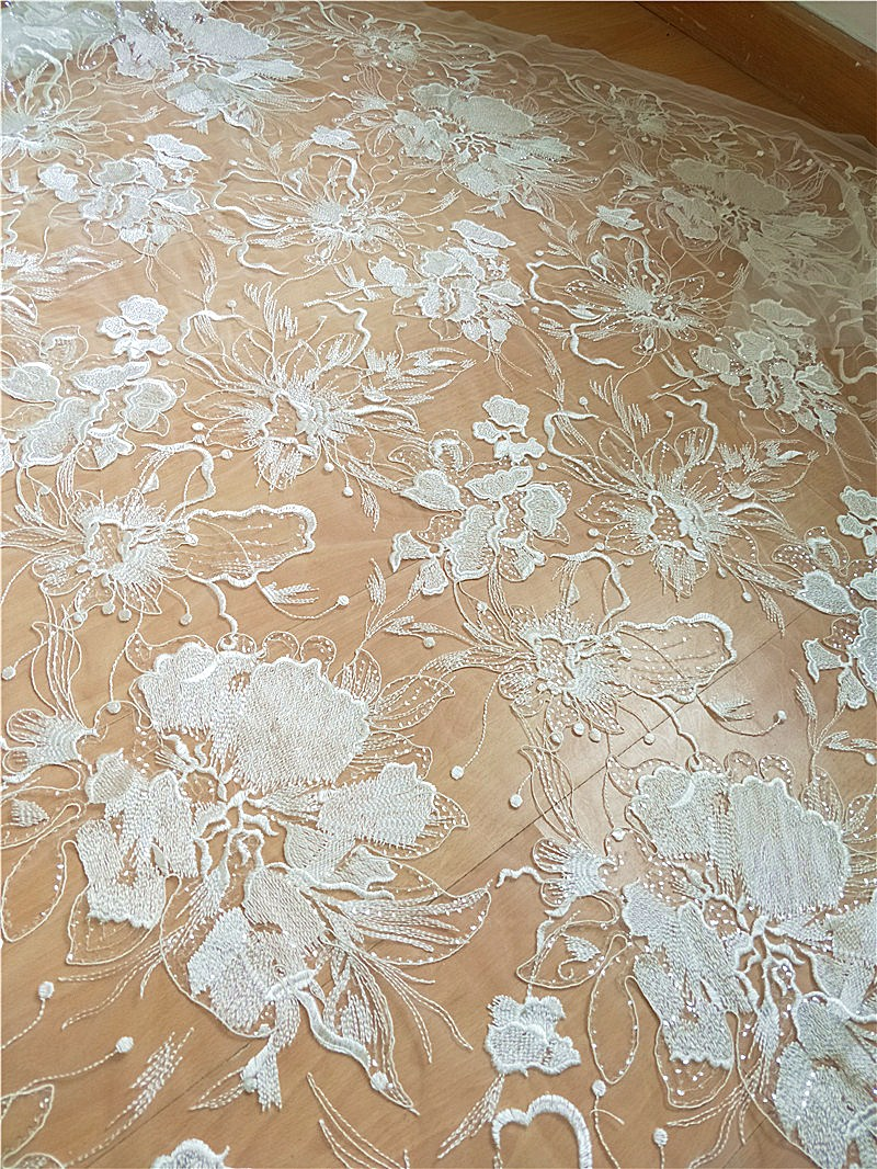 1 Yard Large Floral Embroidery Lace Fabric with Clear Sequin Soft Tulle Floral Embroidery Mesh Couture Fabric in Fabric from Home Garden