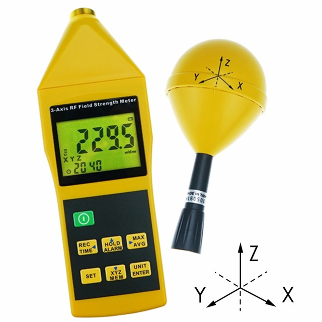 Electromagnetic Radiation Tester 10MHz to 8GHz w/ Alarm and Tripod Mounting MIni Triaxial Tri Axis RF Field Strength Meter