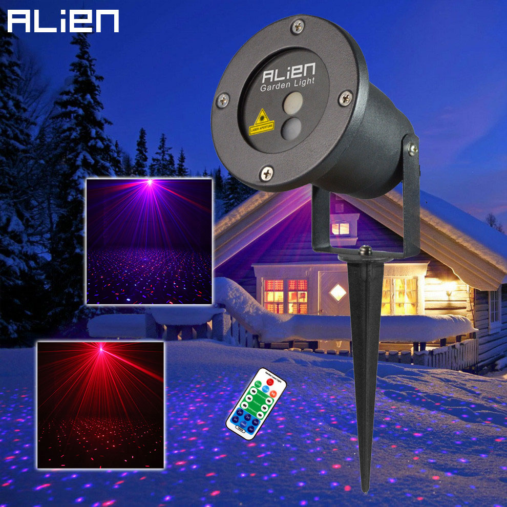ALIEN Remote Control RB Christmas Outdoor Laser Star Projector Garden Waterproof Landscape Lighting Holiday Xmas Tree Show Light outdoor waterproof green lamp red garden tree laser landscape projector with 10 feet cable christmas lights star