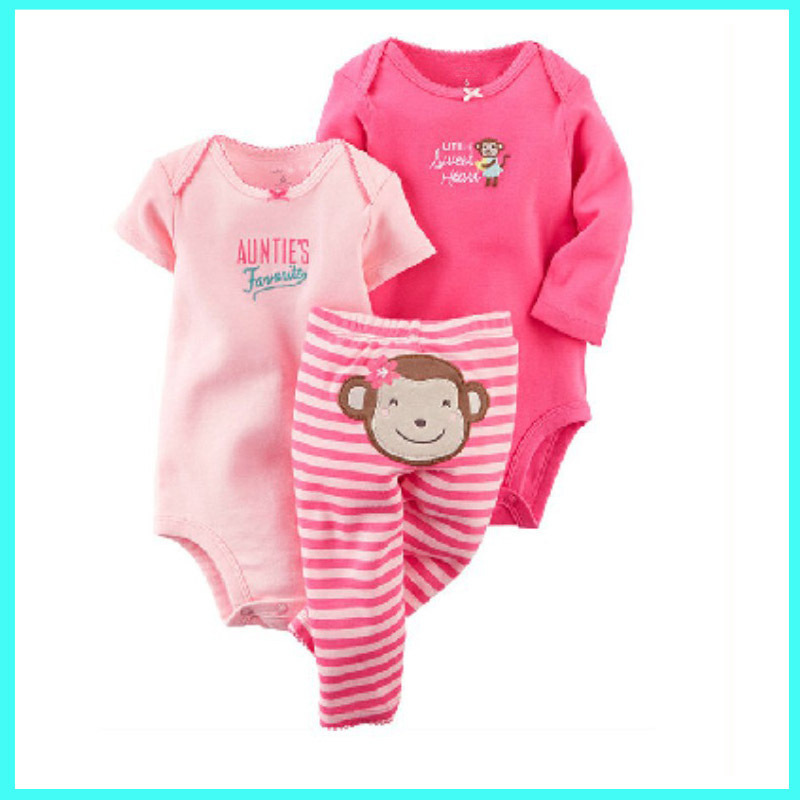 3pcs/lot Newborn Baby Girl Clothing Set Cotton Long Sleeve and Short Sleeve Bodysuit and Pants Bebes Bodysuit Set Kid Jumpsuit 3pcs mini mermaid newborn baby girl clothes 2017 summer short sleeve cotton romper bodysuit sea maid bottom outfit clothing set