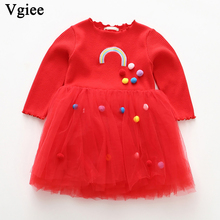 Vgiee Dress for Baby Girls Dresses 2019 Autumn Winter Party Princess Dress Full Red Mesh Girls Clothing CC275