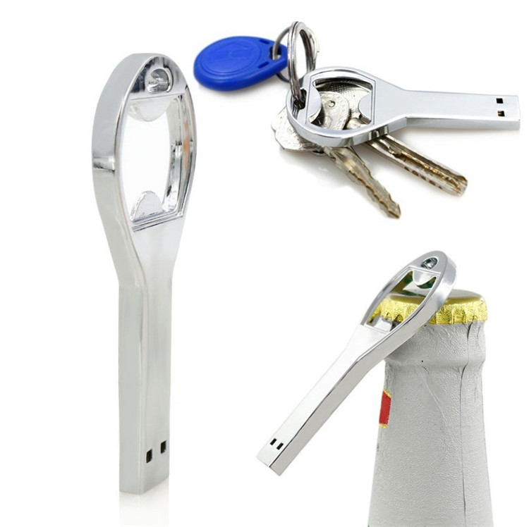 hot sale beer bottle opener key chain usb flash drive memory stick drives64gb 8gb 4gb - Key Bottle Opener