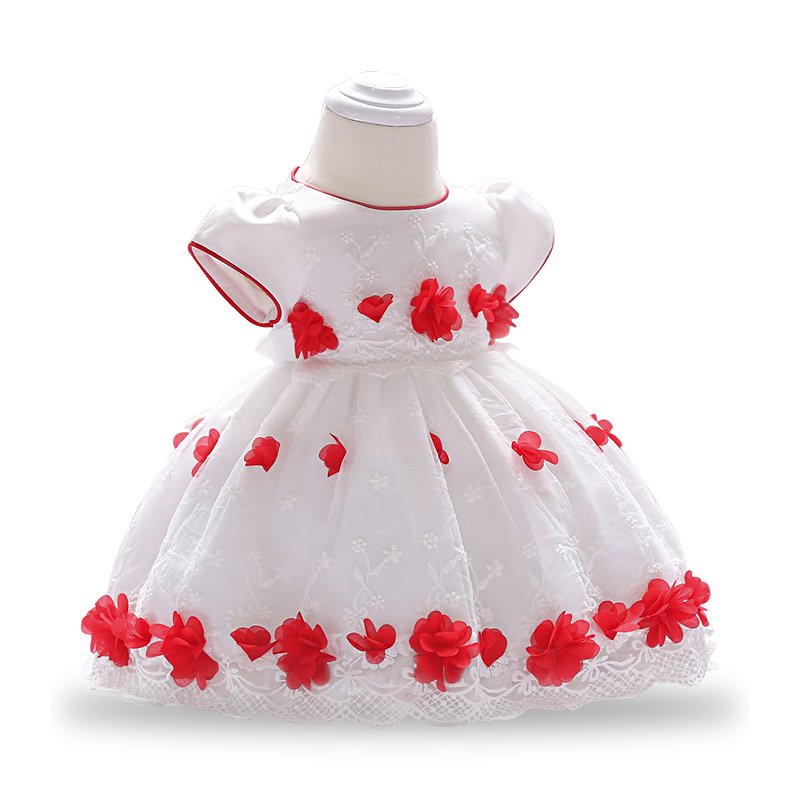 Baby Girls 0 1 2 year Birthday Party Dresses Princess baby girls dress red tulle lace clothes summer girls flower dress ...