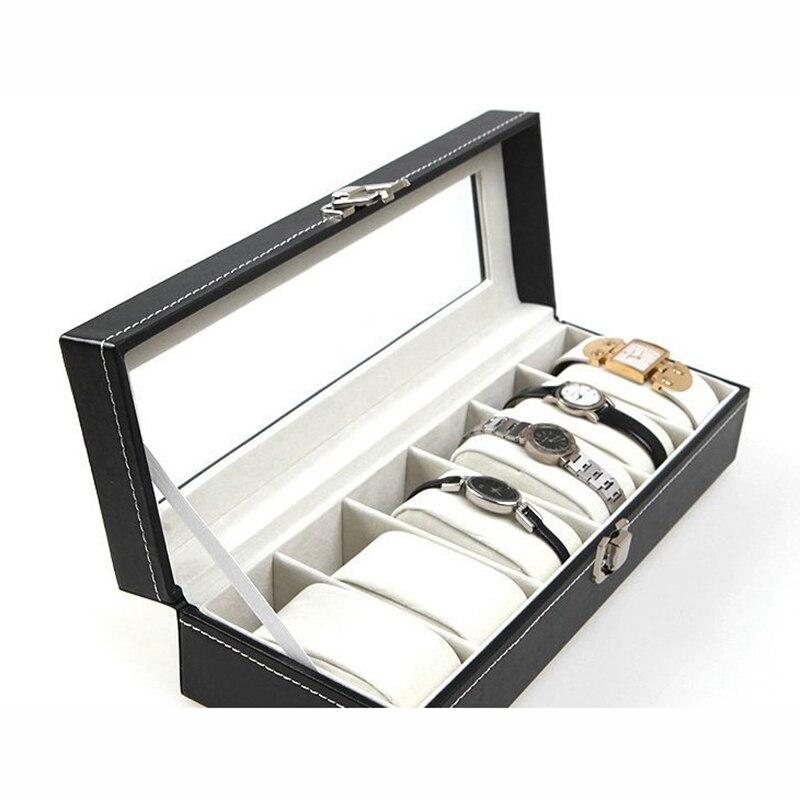 New Wrist Watch Display Storage Organizer Box Container 6 Cell