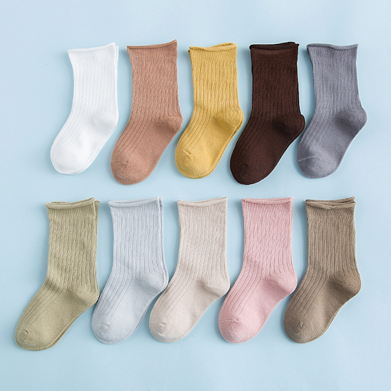 MYUDI - 5 Pairs/lot Boy Summer Cotton Socks Children Baby Girl's Stripped Airy Short Ribbed Socks For Baby Kids  1-5Y