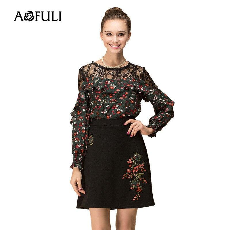 Taille Blouse La Plus 5xl Aofuli Jupes Floral 4xl Longues Ensemble L Printemps 2018 Noir Costume Manches Broderie Vert Jupe Ruches Et Femmes 3xl FnWTnqY4