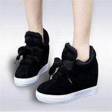 Size 34-45 Autumn Winter Style Women Shoes Hidden Wedge Heels Boots Elevator Platform Casual Ankle Warm Snow