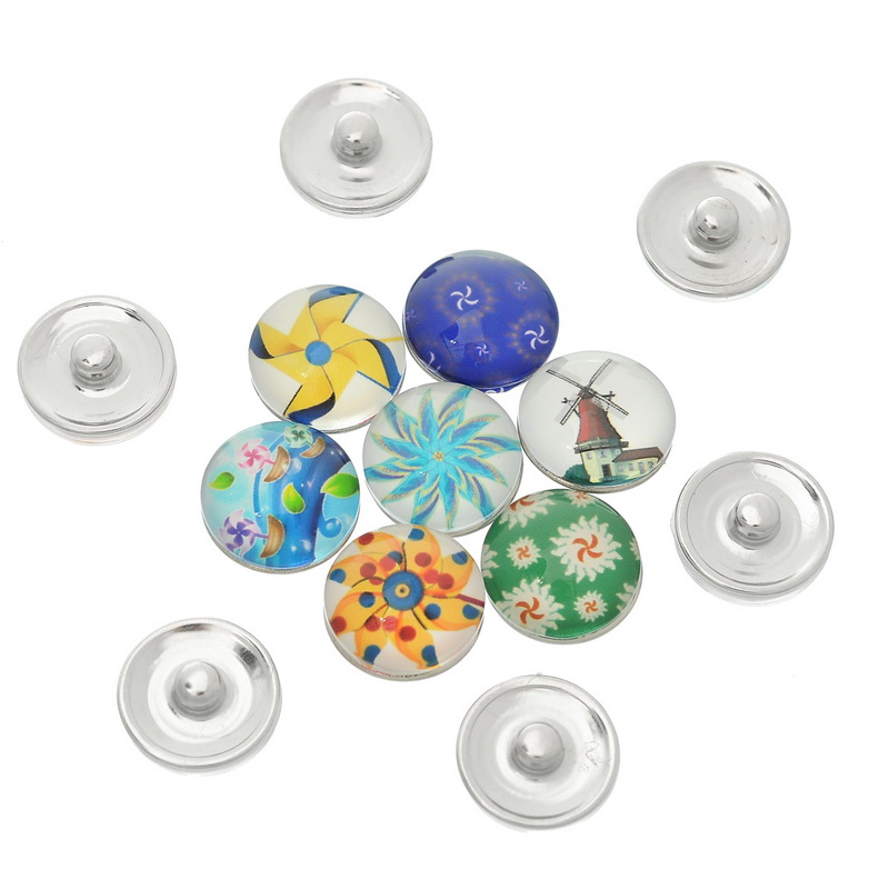 30Pcs Mixed Colorful Windmill Patterns Glass Round Click Snap Press Buttons Crafts Making 18mm image