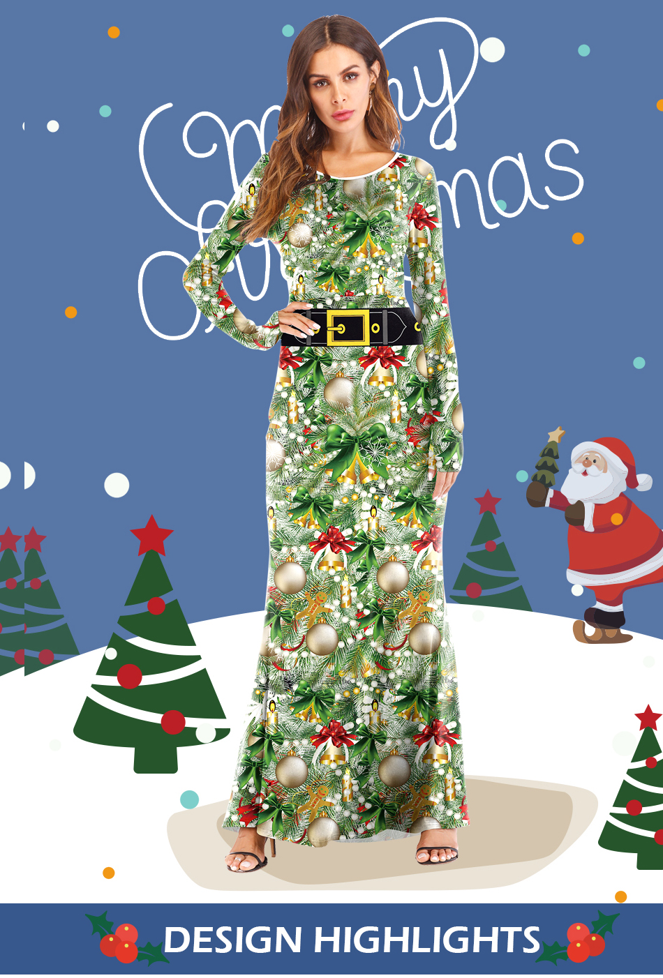3b78f232257 Plus Size New Year Christmas Costume For Women Christmas Tree Bell ...