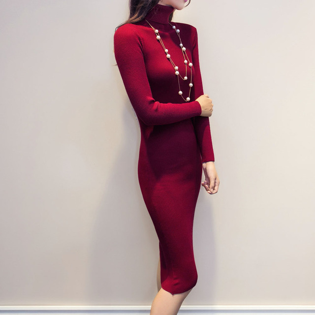 Women Autumn Winter Sweater Knitted Dresses Slim Elastic Turtleneck Long Sleeve Sexy Lady Bodycon Robe Dresses Vestidos LJ1017