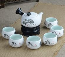 Ventas calientes Nieve esmalte de China juegos de té, 6 tazas de té y 1 bote de té, ChineseTravel Kung fu. taza de té tetera De Cerámica. taza de Café