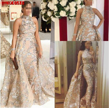 Sexy Gold Sequins Mermaid Evening Dresses With Detachable Skirt Prom Dress Long Formal Party Pageant Gowns Celebrity
