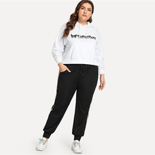 Women's Plus Size Side Striped Black Running Pants