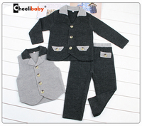 Children Kids Boys Clothing Sets Autumn Winter Patchwork Sets Kintted Coat Suits Full Baby Boys Vest
