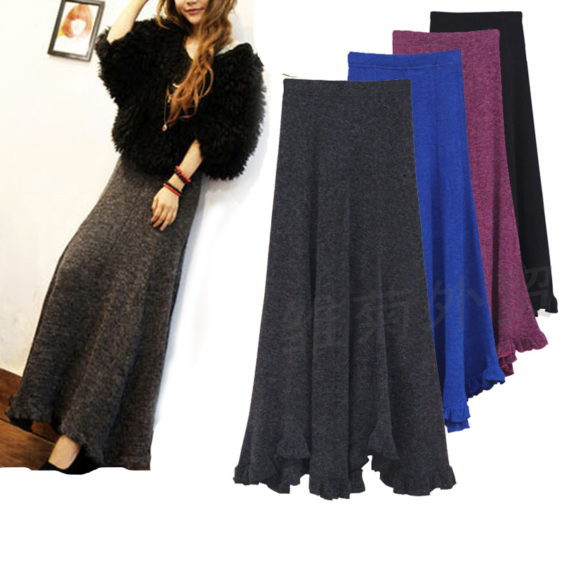Free Shipping 2018 New Arrival Fashion Long Maxi Skirts For Women Winter Pleated Wool Skirts Elegant Knitted Vintage Lady Skirt