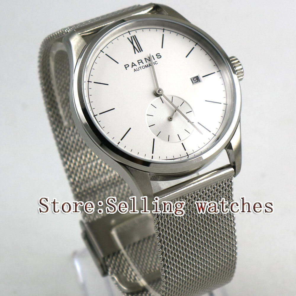 42mm parnis white dial Steel strap date ST 1731 automatic mens watch цена и фото